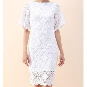 Graceful White Crochet Midi Dress